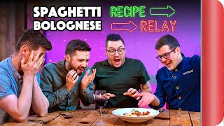 SPAGHETTI BOLOGNESE Recipe Relay Challenge | Pass it On S2 E7
