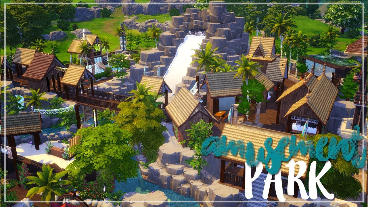 Los sims 4 speed build tropical water park amusement for Pool designs sims 4