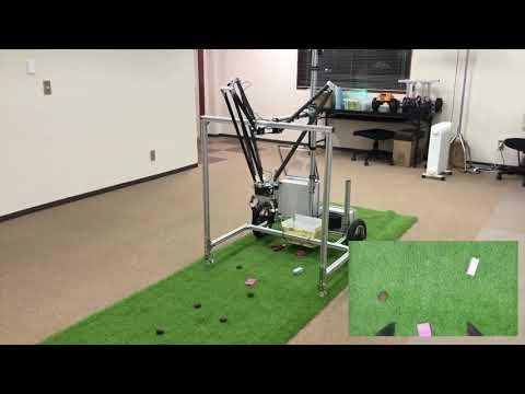 パラレルリンクロボットアームとAIを搭載した無人車両