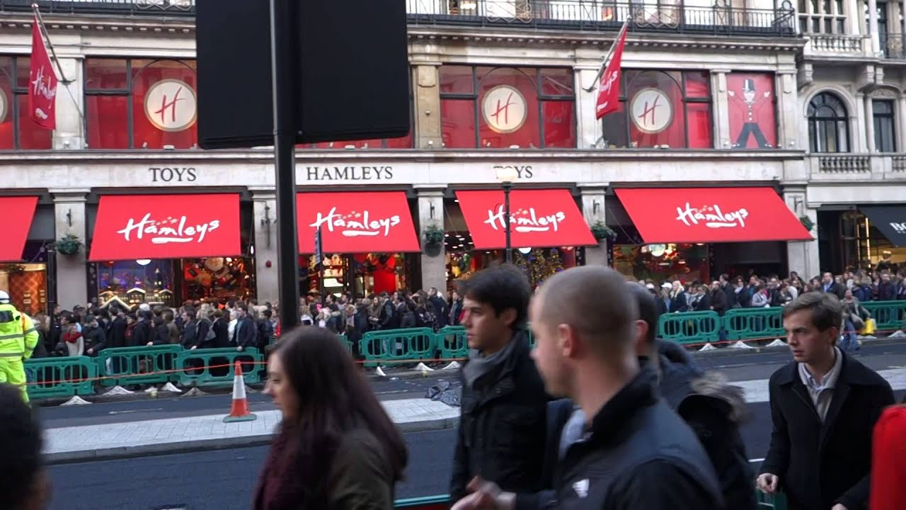 Crazy Crowd Outside Hamleys Oxford Street London Black