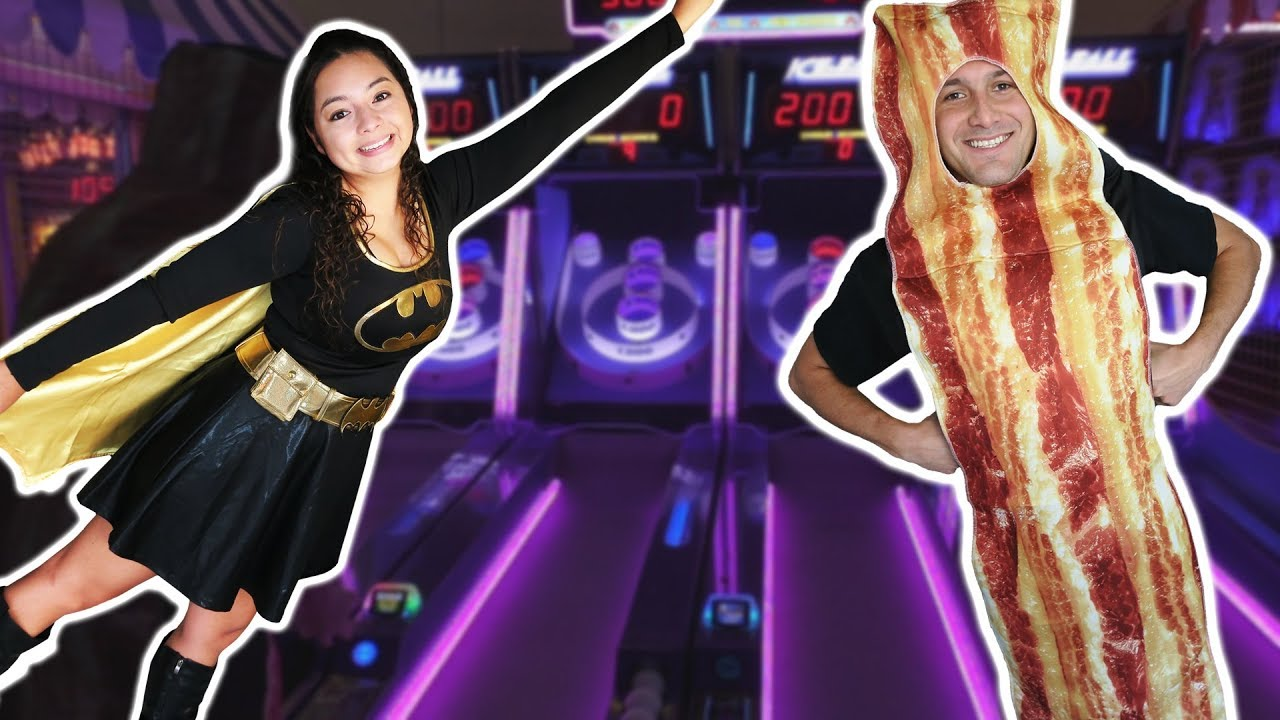 Plush Time Wins Halloween Costumes 2020 Batgirl and Mr. Bacon at the Arcade for Halloween!   YouTube