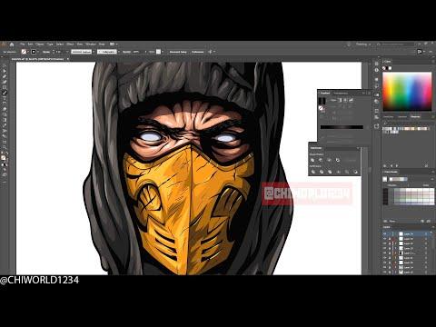 Scorpion | Mortal Kombat - Adobe Illustrator - Speed Art Process