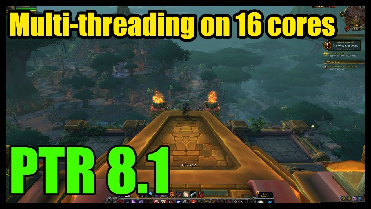 Benchmarking PTR 8 1 multithreading with a THREADRIPPER! [World of Warcraft]