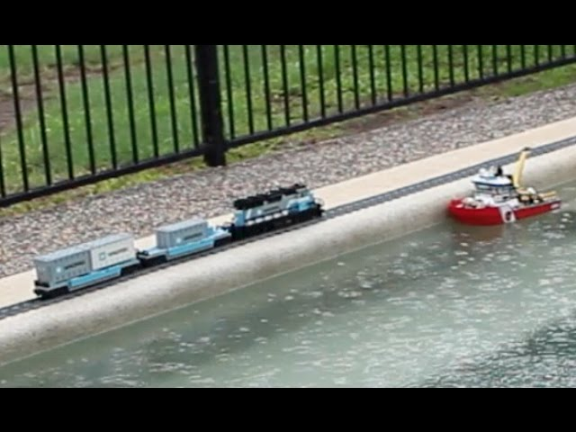 Lego Train Travels around the Swimming Pool