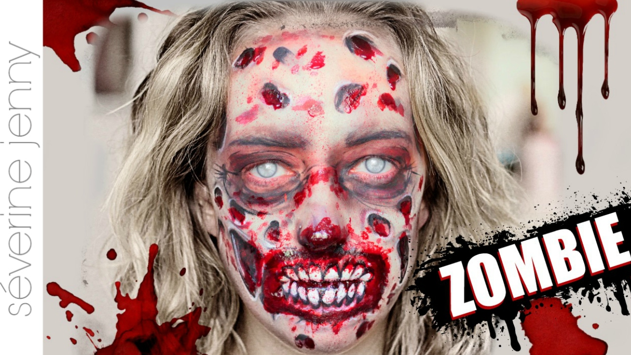 Maquillage halloween zombie gore qui fait peur sans latex youtube - Maquillage zombie femme facile ...