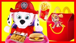 Paw Patrol Marshall Eats a McDonalds Happy Meal