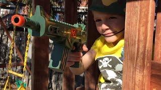 Kids play Army battle in the Backyard