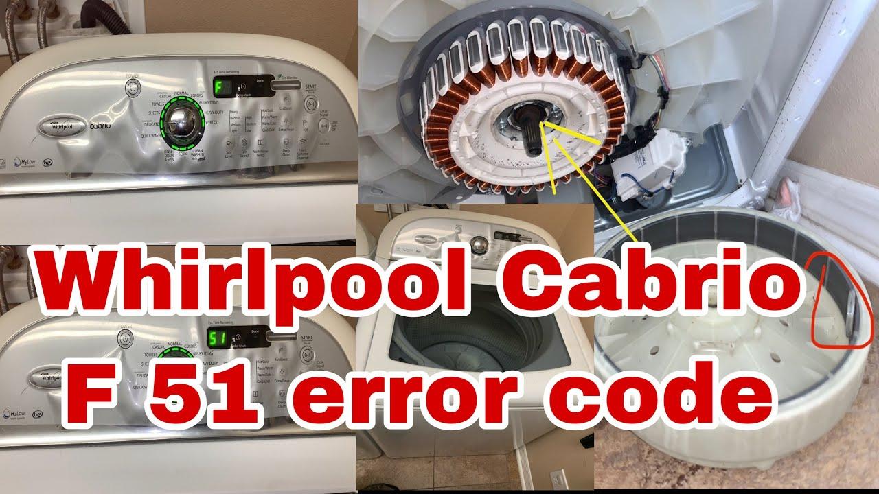How To Fix Whirlpool Cabrio Washer Flashing F51 Error Code Model Wtw7600xw0 Youtube