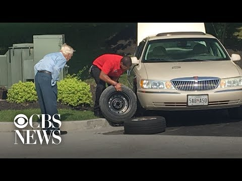 Mark - Watch a Chick Fil A manager change a flat tire for a World War II veteran