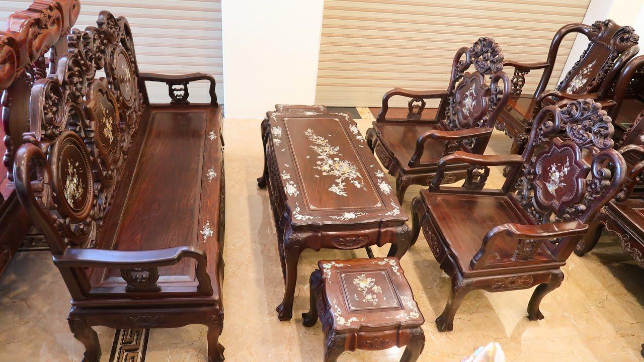 Bàn ghế gỗ trắc Hoa Lá Tây 6 món