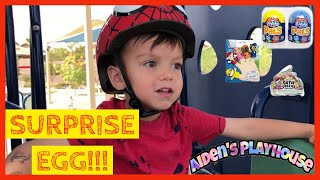 Surprise EGG Scavenger Hunt at the PARK!  Unboxing TOYS | Aidens Playhouse