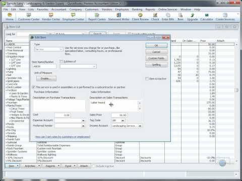 QuickBooks Training Videos: Create a 2-sided Labor Item