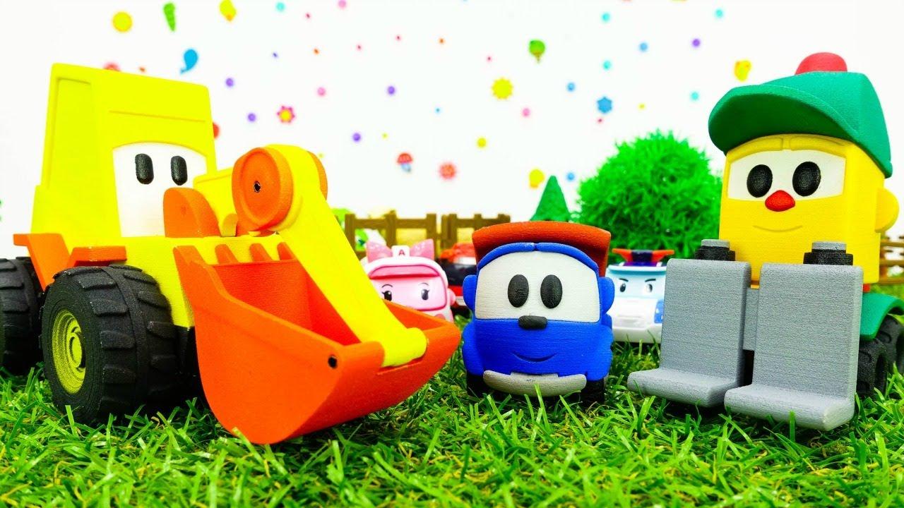 Video e giochi per bambini. Il camioncino Leo e Lifty puliscono la strada.