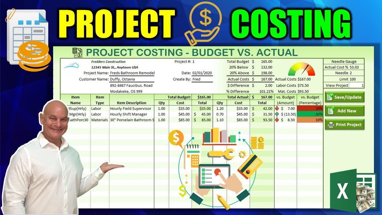 How To Create A Project Costing Application with Budget vs. Actual Costs In Excel [Free Download]