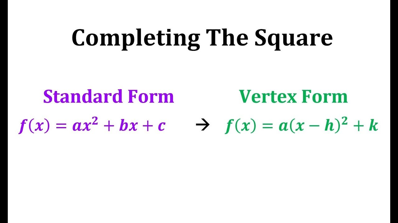 Writing a Quadratic Equation in Vertex Form: Completing ...