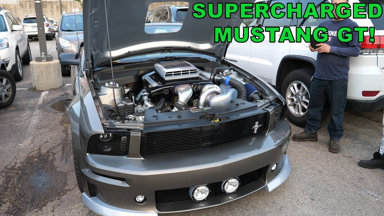 Vortech Supercharged 2005 Mustang GT with Functional Shaker Hoodscoop and  Sidepipes! [4K]