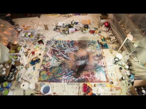 Time Lapse Video of artists Sara Zimmerman & Sara L Smith collaboratively painting live – 12/15/16