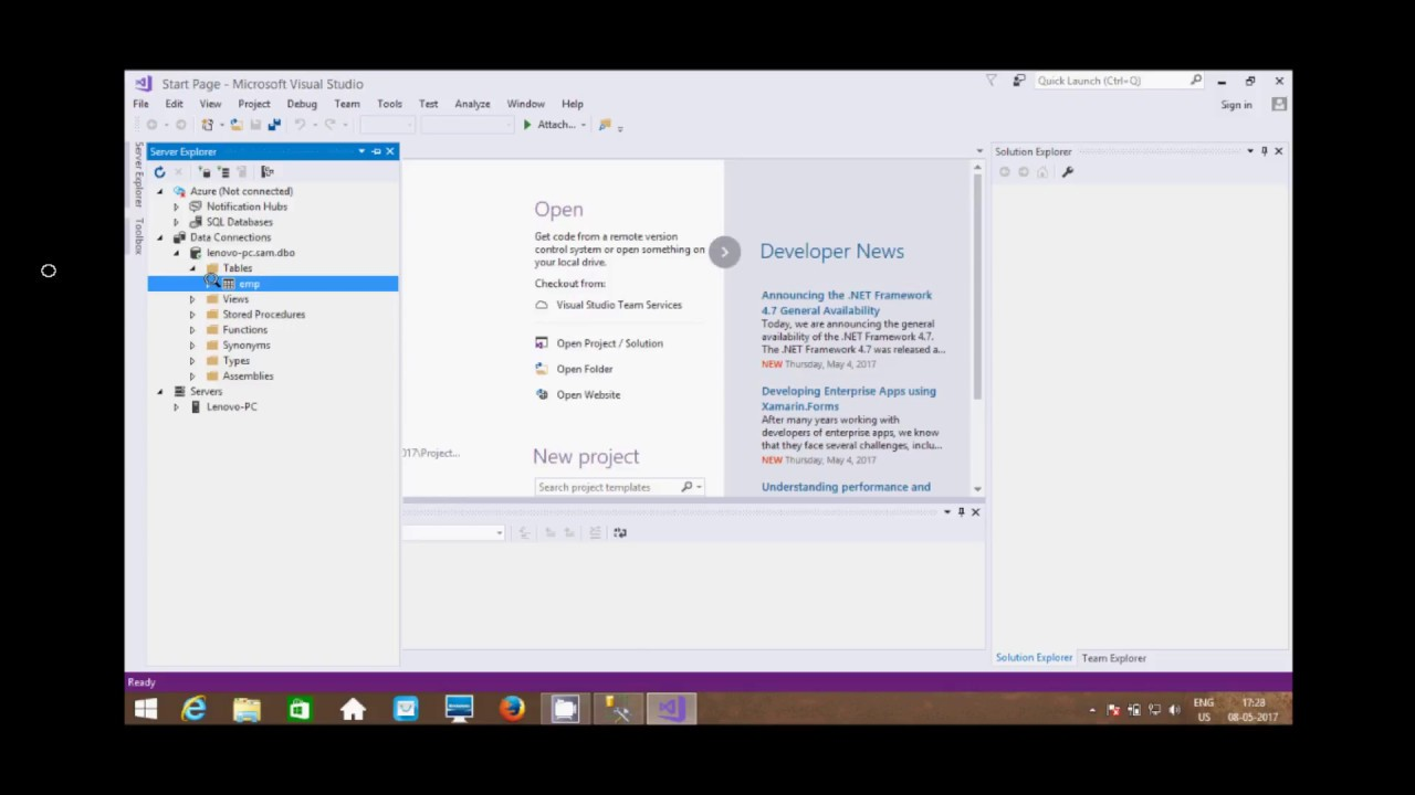 Connect MS SQL Server To Visual Studio 2017