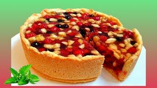 Песочный пирог с ягодами в желе