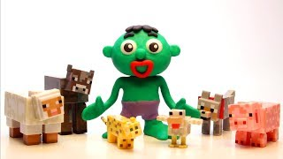 Hulk and the Minecraft animals Cartoons Play Doh Stop Motion for children