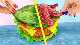 تحدي 10 اكلات سريعة لعروسة البحر تعمليهم بنفسك ضد الاكلات السريعة للجنية!