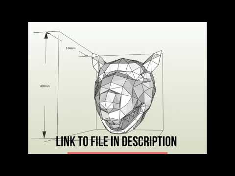 DIY papercraft 3d, animal trophy RAT of paper pdf template, in low poly model, Wall decor