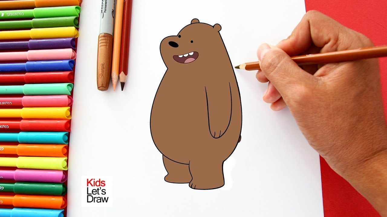 How To Draw And Color Grizzly From We Bare Bears