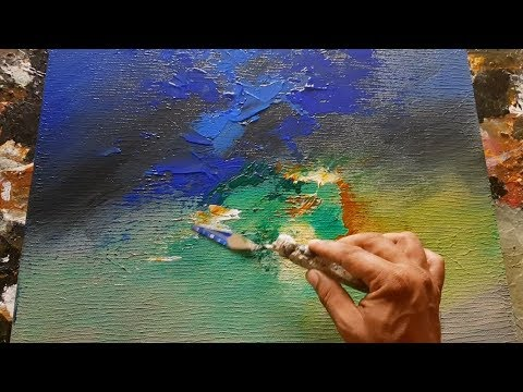 Abstract painting / Acrylics / Palette knife / Flat brush / Demonstration