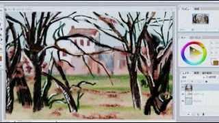 Artweaverで描くセザンヌの マルヌ川の橋&木と家。