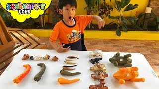 WRONG TAILS DINOSAURS! Skyheart plays with wrong heads trex toys long neck