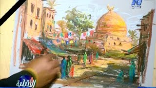 Draw a mosque and houses with Egyptian landscape in soft pastel with Taha Elkorany