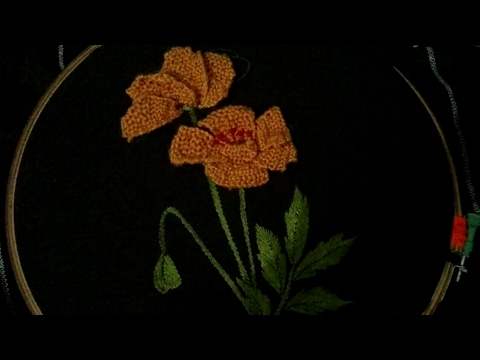 Hand Embroidery 3d Flower And Leaves With Easy Basic Stitches Youtube
