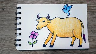 How To Draw A Cow And Bird || Draw for Kids