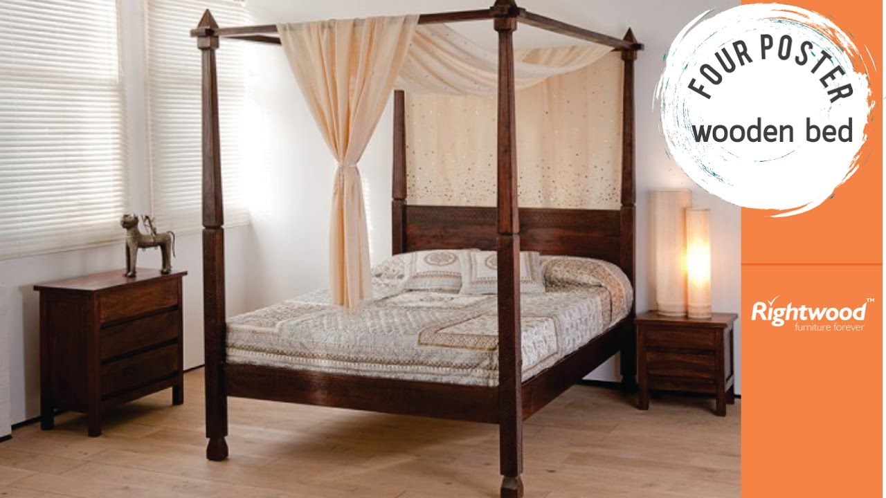 Wooden Four Poster Bed Rightwood Bedroom Interior