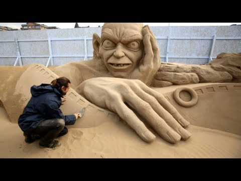 AMAZING Time Lapse SAND SCULPTING Videos - 3D Art Sand Sculptures - Talented Street Artists