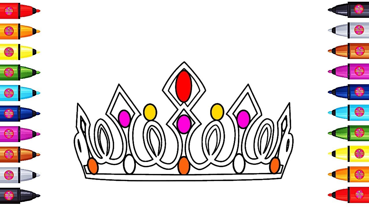 Coloring Crown For Kids to Learn Colors with Crown Queen, Coloring ...