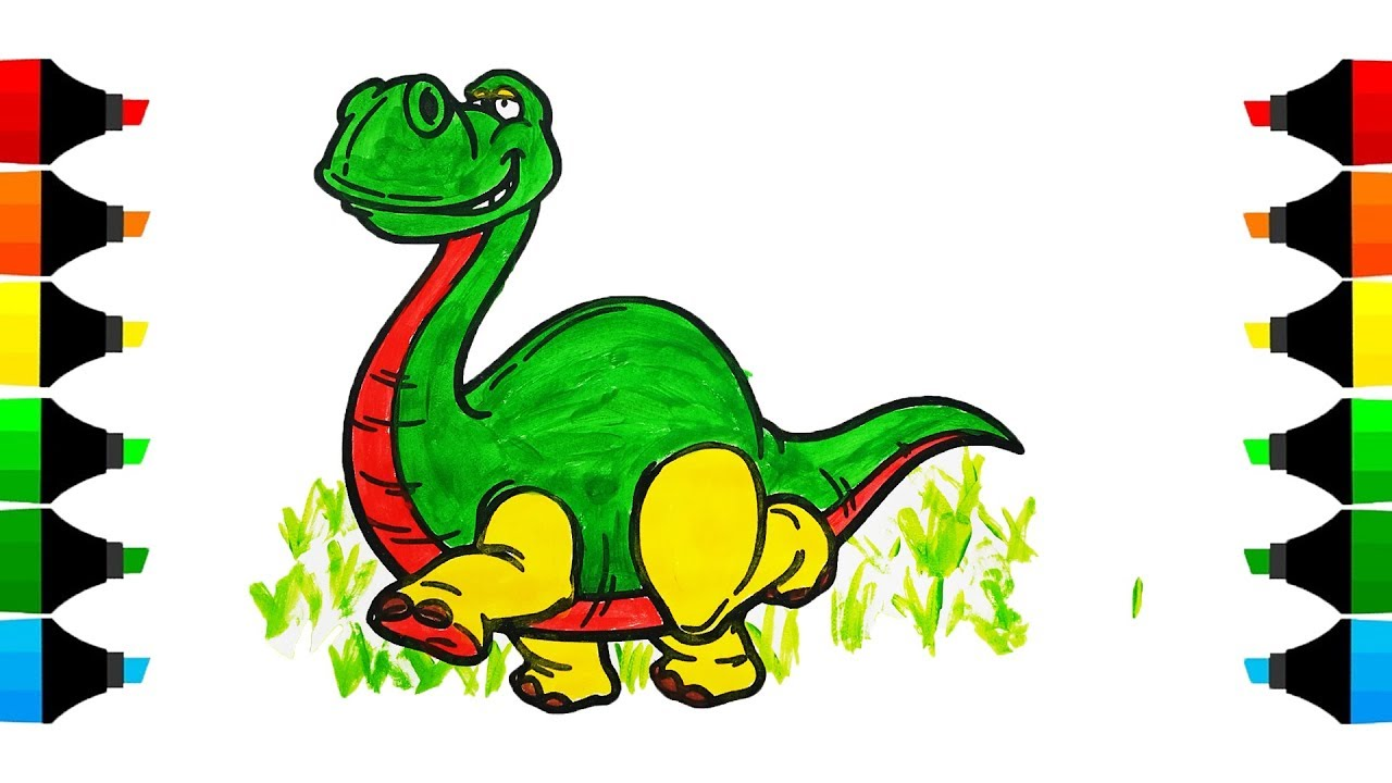 dinosaur drawing & coloring for kids i coloring pages for