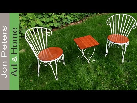 Refinish  Make New Seats for Wrought Iron Chairs  YouTube