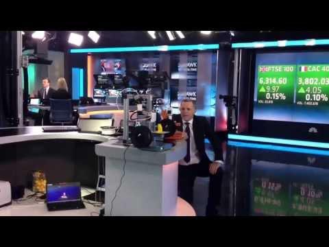 CNBC Squawk Box presenter Steve Sedgwick comments live on Geoff Cutmore figurine getting 3D printed