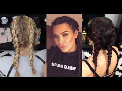 How To Do Kim Kardashian S Double Dutch Braid Pig Tails