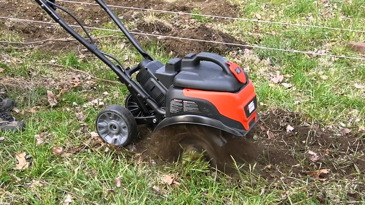 Black and Decker TL10 Electric Tiller in Action YouTube