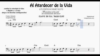 Al Atardecer de la Vida Partitura de Clave de Fa Chelo Trombón Fagot Bombardino Tuba