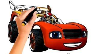 Вспыш и чудо машинки | Гоночная машинка Вспыш | Как нарисовать машину учим цвета | Blaze