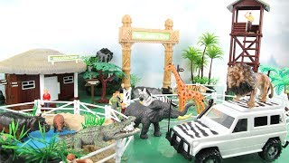 Animals Mega Jungle Zoo Playset - Learn Names of Animals for Kids. Lion, Giraffe, Alligator