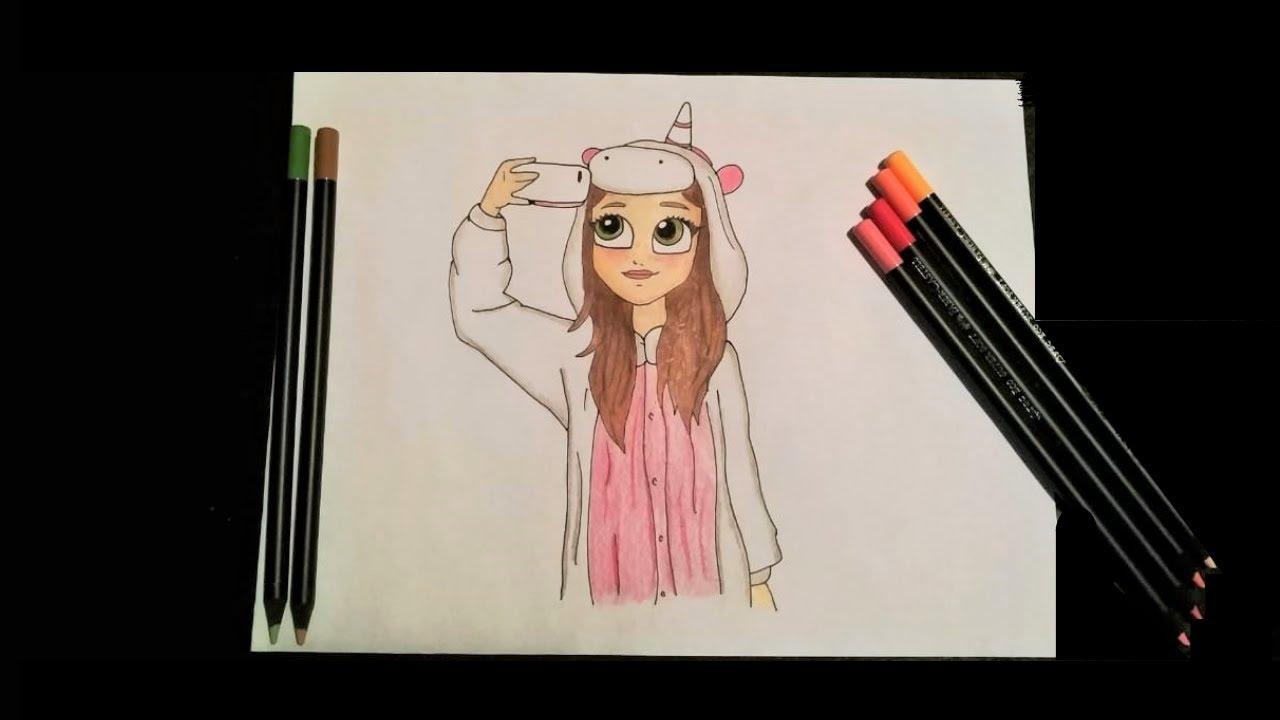 Como Desenhar Uma Menina Tumblr Kawaii Com Pijama De Unicornio