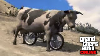 GTA 5 Online COWS RIDING BMX BIKES! Crazy Modded Jobs in GTA 5 Online! (GTA 5 Funny Moments)