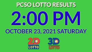 2pm Pcso Lotto Results Today October 23, 2021 Saturday