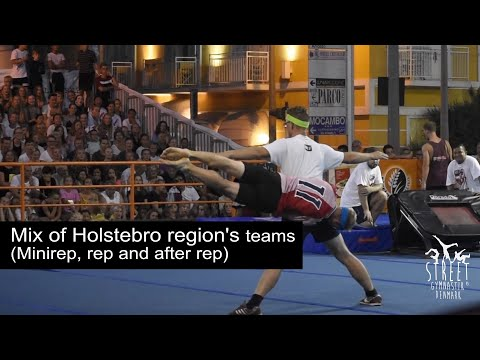 Tumbling and trampoline with a mix of all the DGI Holstebroegnens rep hold to Festival del Sol
