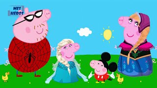 PEPPA PIG en français costume personnage Spider Man, Elza, Mickey Mouse, Anna - PEPPA PIG costume