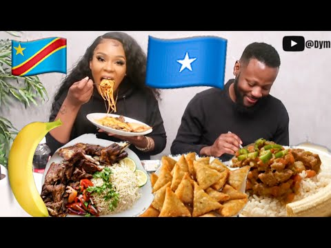 CONGOLESE TRYING SOMALI FOOD FOR THE FIRST TIME | MUKBANG BEEF SAMBUSA BANANA Ishkukaris